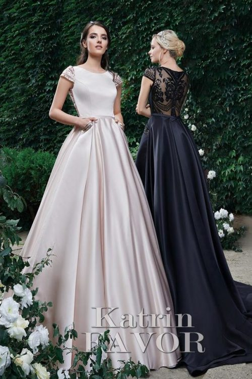 Cream Black Modest Prom Dresses Back Beading