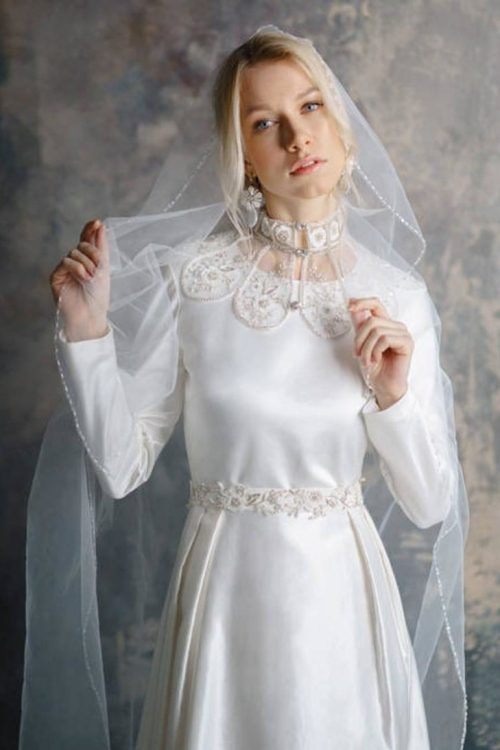 Front of Handmade Lace Crystal Bridal Collar Ivory Wedding Dress