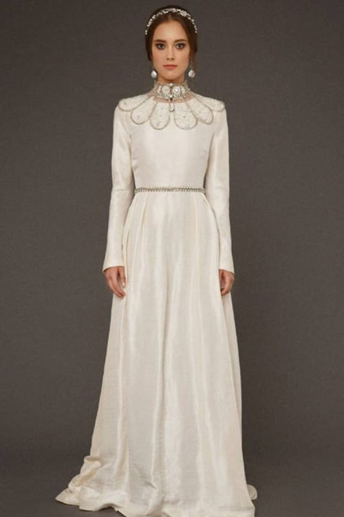 Front of Ivory Silk Tznius Modest Wedding Dress Beaded Collar
