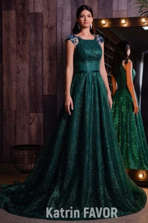 Hunter Dark Green Formal Modest Prom Dress Flower Shoulder Detailing
