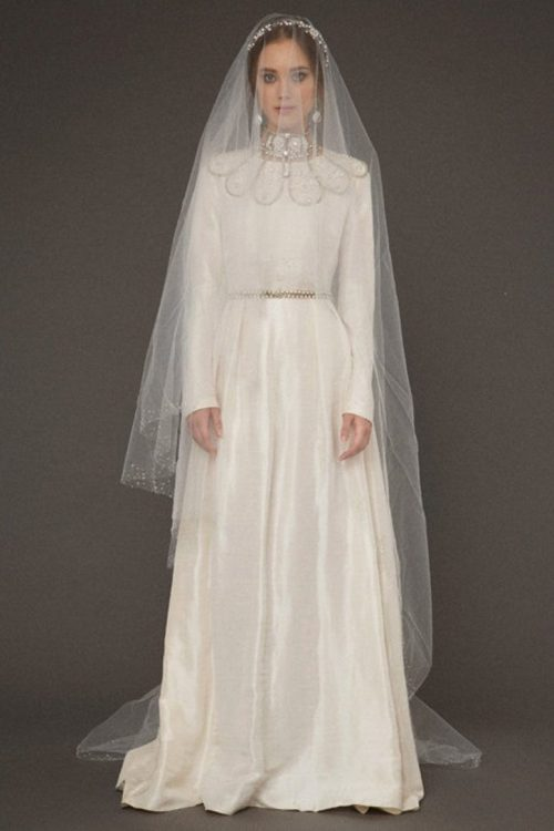 Ivory Silk Tznius Modest Wedding Dress Beaded Collar