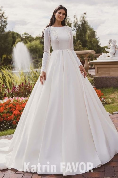 Ivory Taffeta Modest Wedding Dress Bodice Lace Appliques