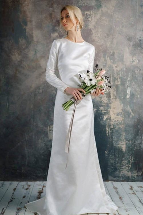 Light Ivory Silk Simple Tznius Modest Wedding Dress