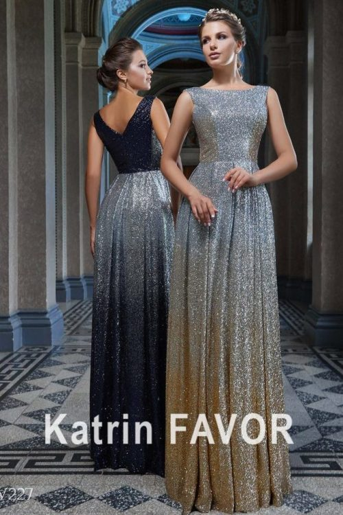 Silver Gold Navy Blue Ombre Modest Prom Dresses