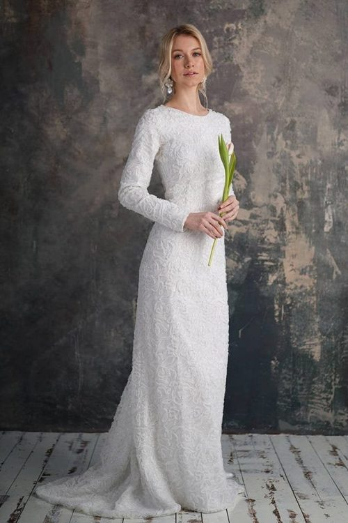 White Sequin Mermaid Tznius Modest Wedding Dress