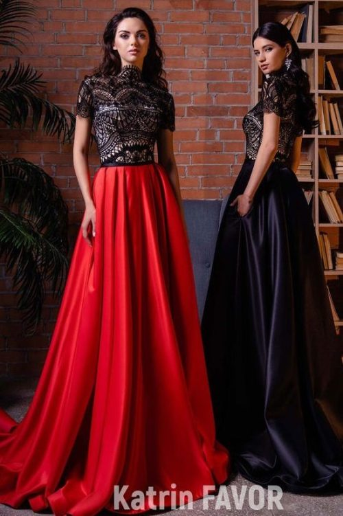 Black Lace Ballgown Modest Prom Dress
