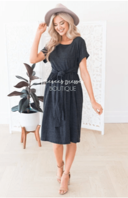 Neesee's Dresses Charcoal Self-Tying Modest Tee Shirt Dress Sleeves