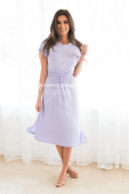 Neesee's Dresses Lilac Modest Tee Shirt Dress Sleeves