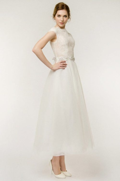Sideview Ivory Tea Length Lace Bodice Modest Wedding Dress