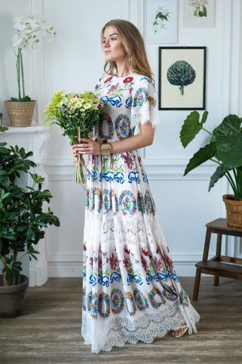 Sideview White Floral Long Modest Prom Dress Sleeves