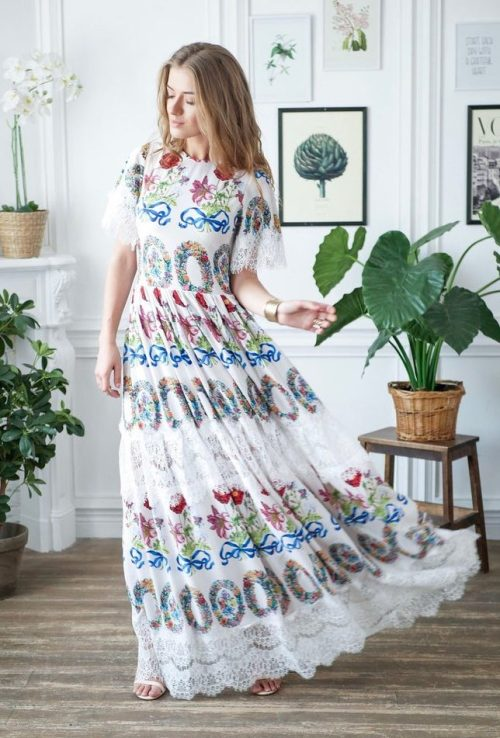 Swinging Skirt White Floral Long Modest Prom Dress Sleeves