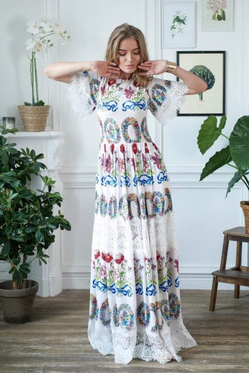 White Boho Floral Long Modest Prom Dress Sleeves