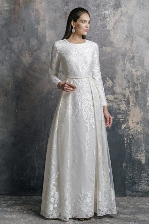 White Lace Modest Wedding Dress Faux Pearl Waistband