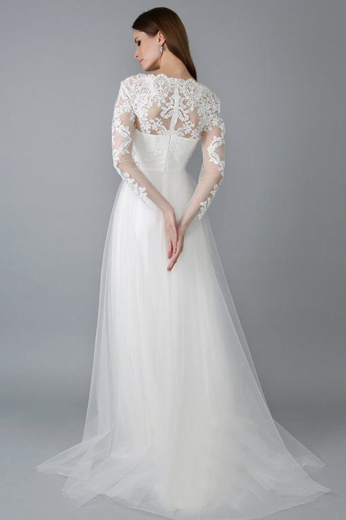 Back View White Lace Tulle Modest Wedding Dress V Neck Long Sleeves