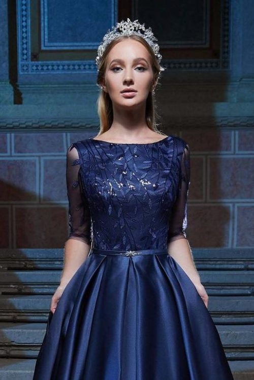 Close Up Dark Blue Satin Modest Prom Dress Half Sleeves