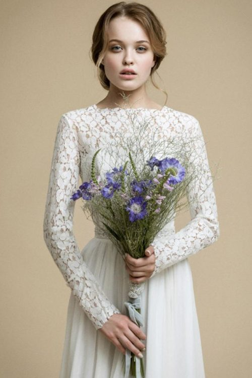 Close Up Lace Chiffon Long Sleeve Modest Light Ivory Wedding Dress