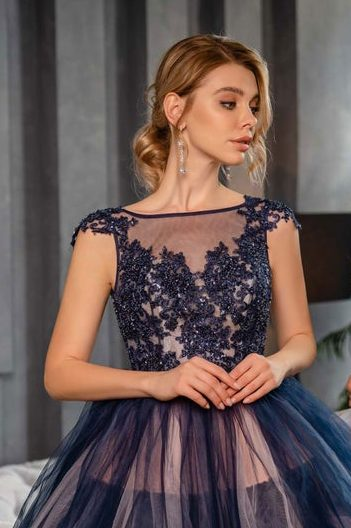 Close Up Navy Blue Layered Tulle Skirt Beaded Lace Bodice Modest Prom Dress Cap Sleeves