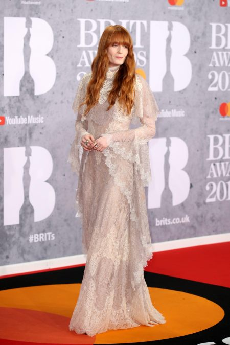 Florence Welch High Neck Lace Gucci 2019 Brit Awards