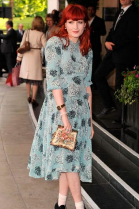 Florence Welch Vintage Blue Jasmine Di Milo Floral Midi Dress
