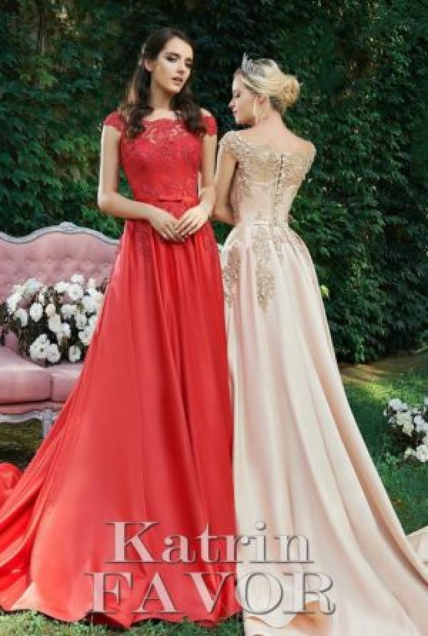 Red Beige Beaded Lace Satin Skirt Modest Prom Dress Cap Sleeves Train