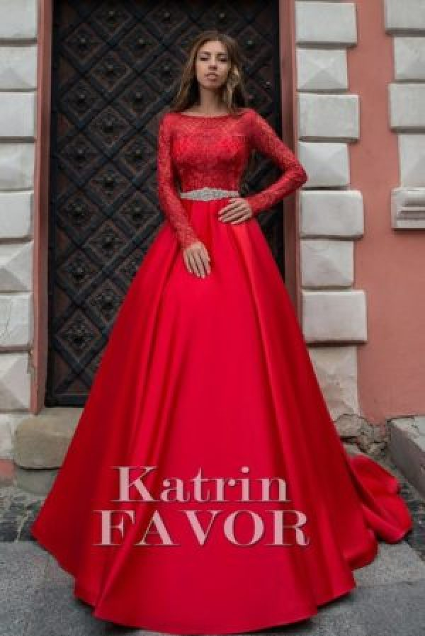 Red Lace Satin Rhinestone Sash Modest Prom Dress Long Sleeves