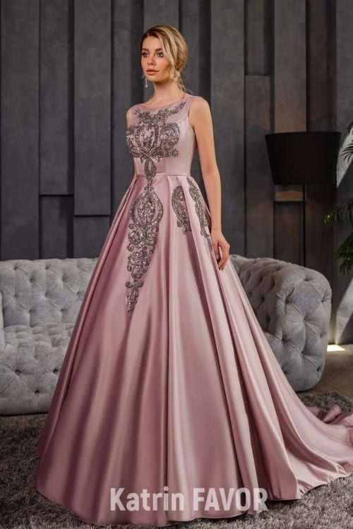 Sequined Applique Blush Pink Satin Modest Formal Dress Full Skirt