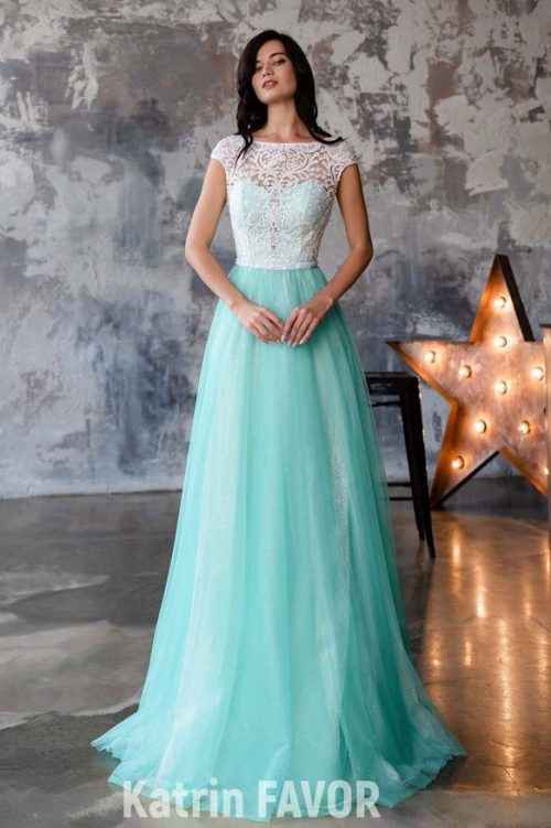 Tiffany Blue White Lace Modest Prom Dress Sleeves