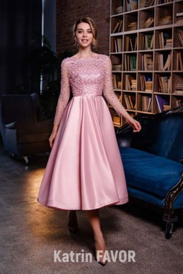 Vintage Inspired Pink Lace Bodice Satin Tea Length Skirt Modest Prom Dress Long Sleeves