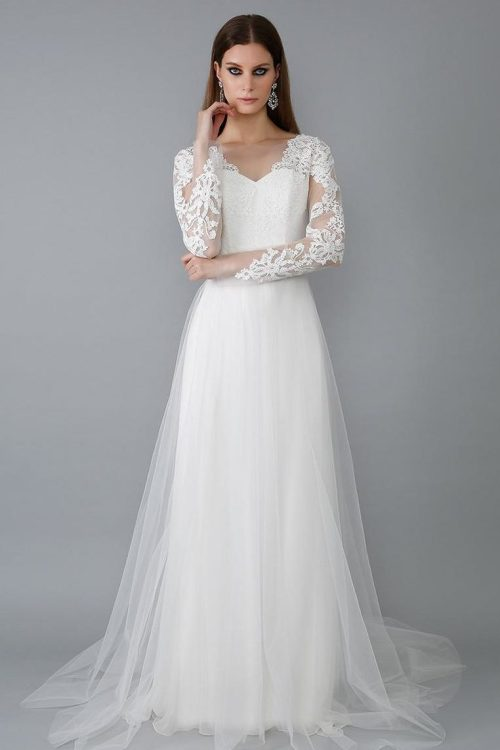 White Lace Tulle Modest Wedding Dress V Neck Long Sleeves