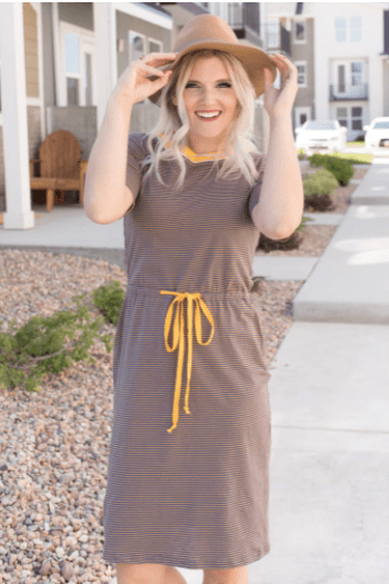 My Sister's Closet Boutique Sunshine Striped Modest Dress