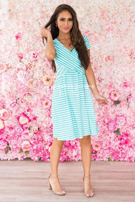 Neesee's Dreses Turquoise White Stripe Jersey Modest Dress
