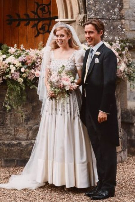 Princess Beatrice Modest Wedding Dress Front of Church