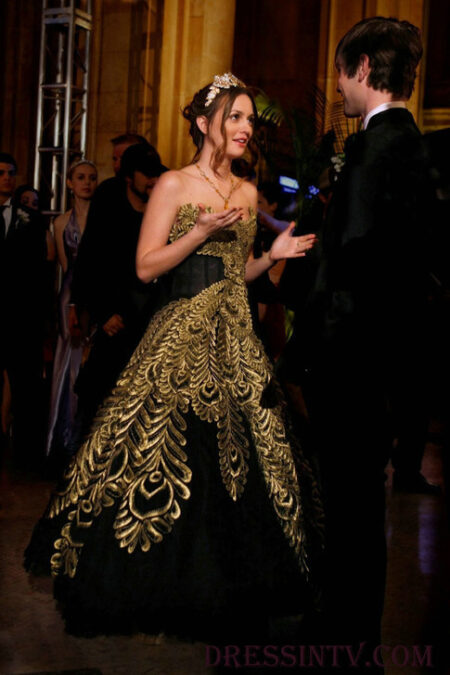 Blair Gossip Girl Black Gold Prom Dress