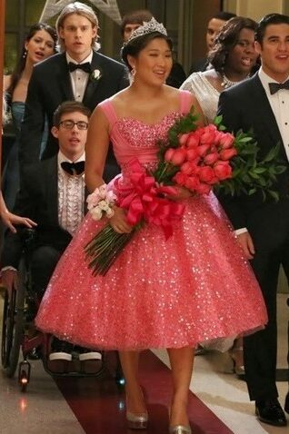 Tina Pink Modest Prom Dress Glee