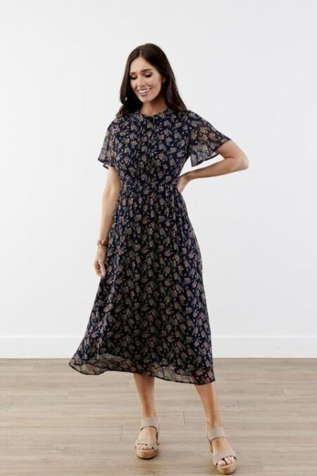 Black Floral Pattern Modest Dress Peter Pan Color ModestPop