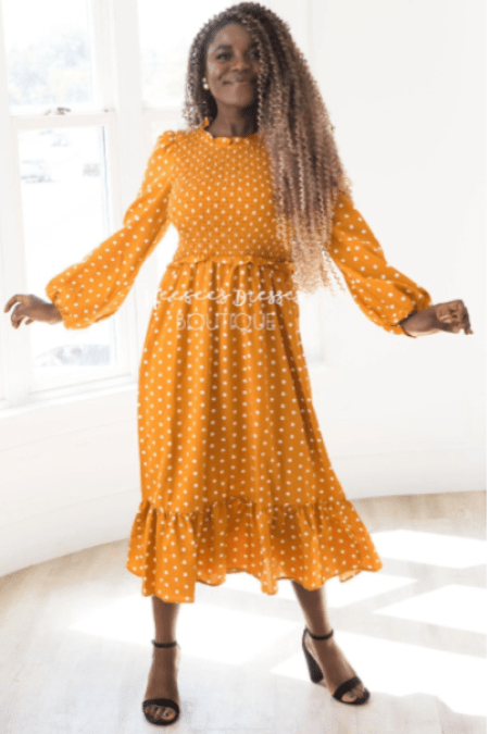 GoldenRod Polka Dot Smocked Modest Dress Neesees Dresses