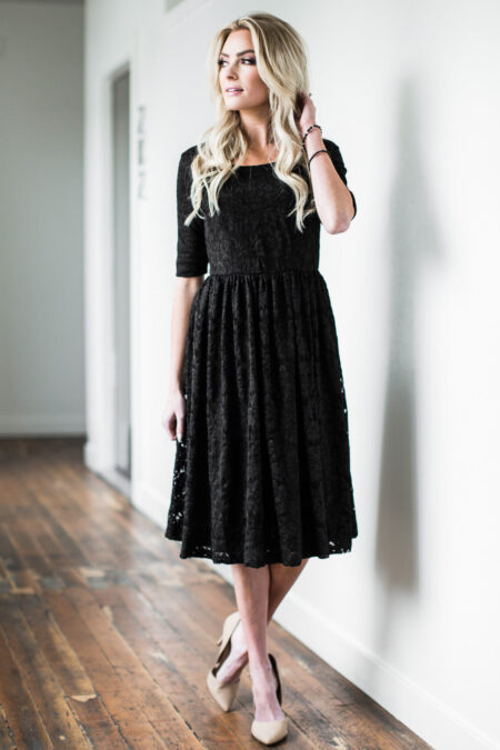 Jen Clothing Black Modest Lace Dress Half Sleeves