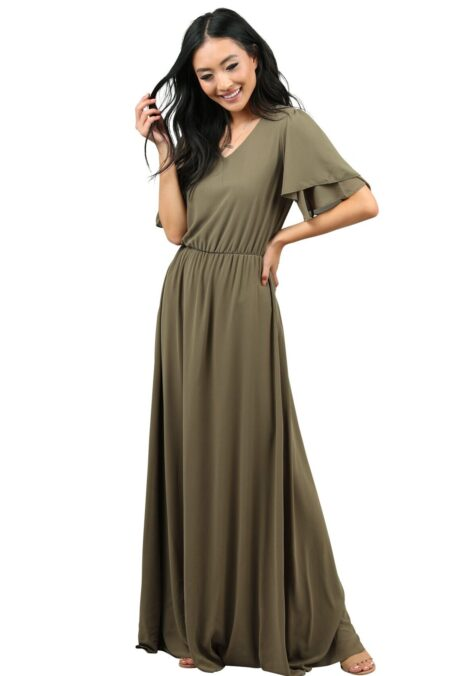 Jen Clothing Olive Green Maxi Dress Sleeves
