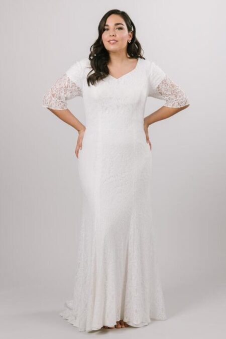 LatterdayBride Lace Fit Flare Modest Wedding Dress