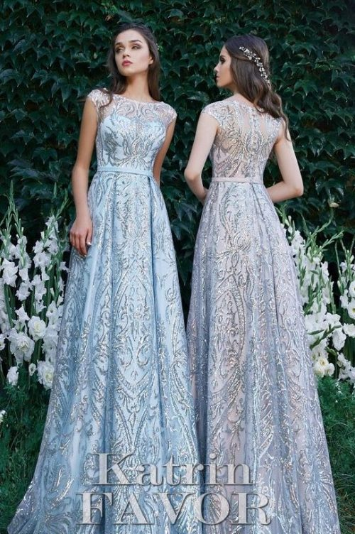 Light Pink Blue Metallic Lace Modest Prom Dress