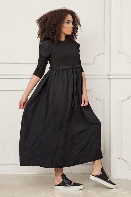 Modest Avant Garde Black Maxi Dress Long Sleeves