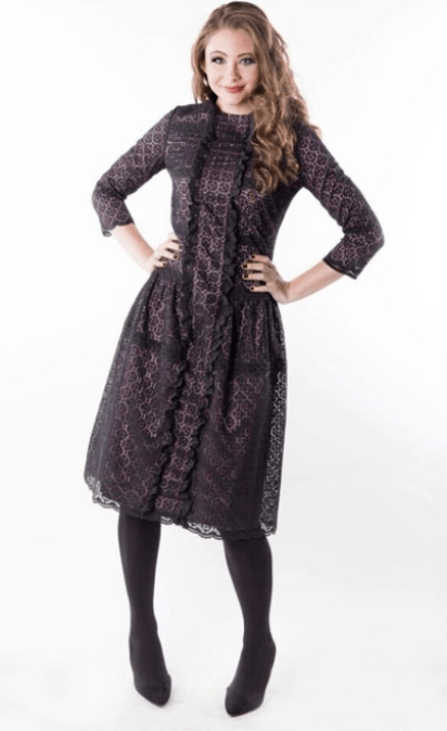 Modestiq Black Pink Modest Lace Dress Ruffles