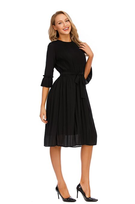 Modestiq Elegant Chiffon Black Modest Dress