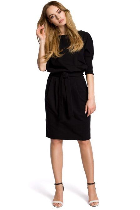 Modli Black Modest Belted Kimono Pencil Midi Dress