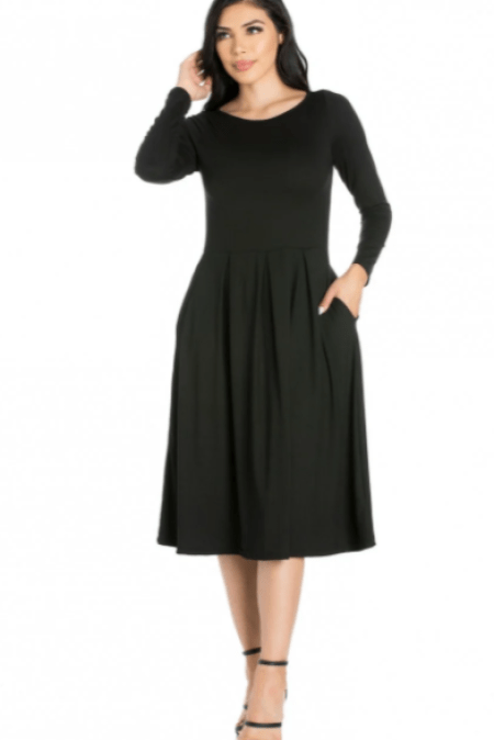 Modli Black Modest Long Sleeve Fit Flare Knit Midi Dress