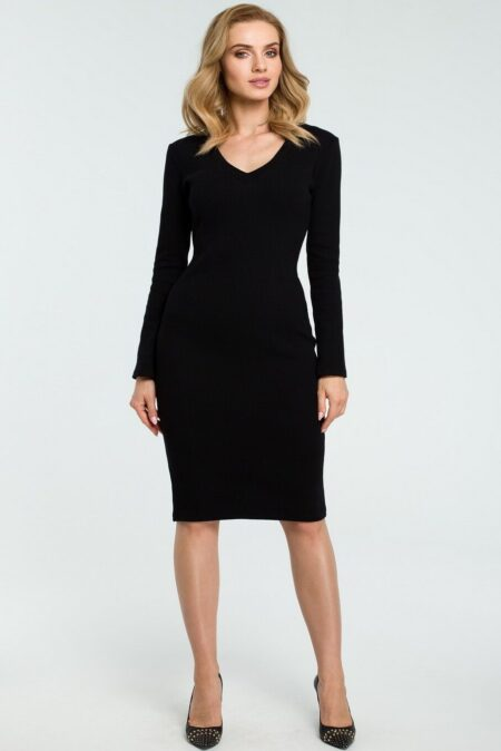 Modli Modest V Neck Bodycon Black Midi Dress