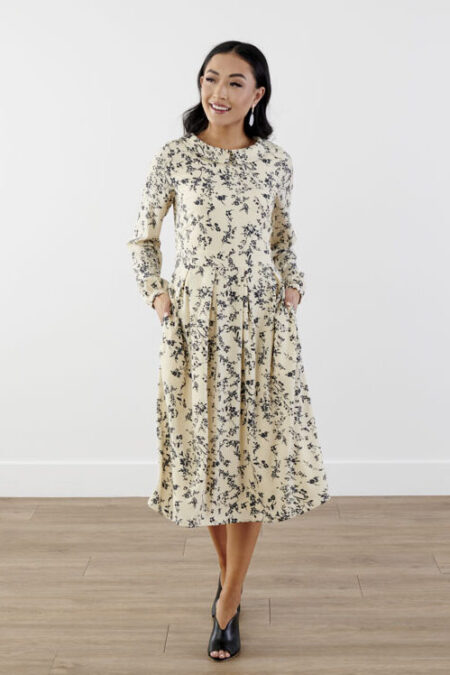 Sweet Salt Clothing Floral Midi Modest Dress Peter Pan Collar