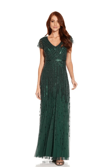 Adrianna Pappel Green Beaded Modest Formal Dress Cap Sleeves