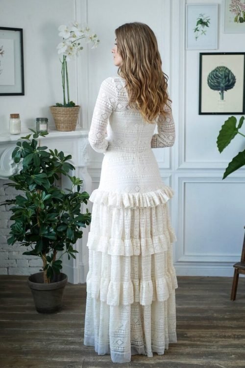Back View Bohemian Lace Tiered Skirt High Neckline White Lace Modest Wedding Dress