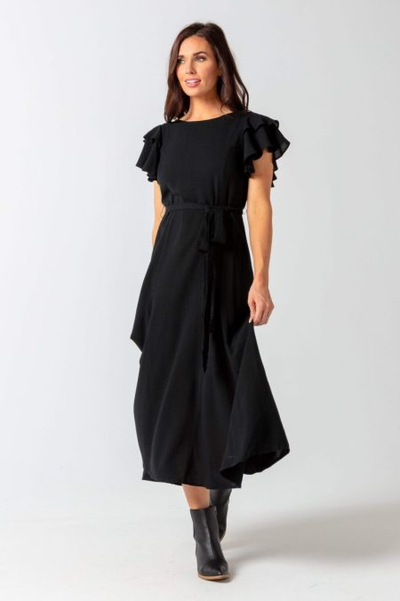 Down East Black Modest Maxi Holiday Dress
